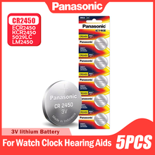 Panasonic – 5 piles boutons CR2450 CR 2450 BR2450 KCR2450 5029LC LM2450, pour montre, jouet électronique, batterie au Lithium 3V