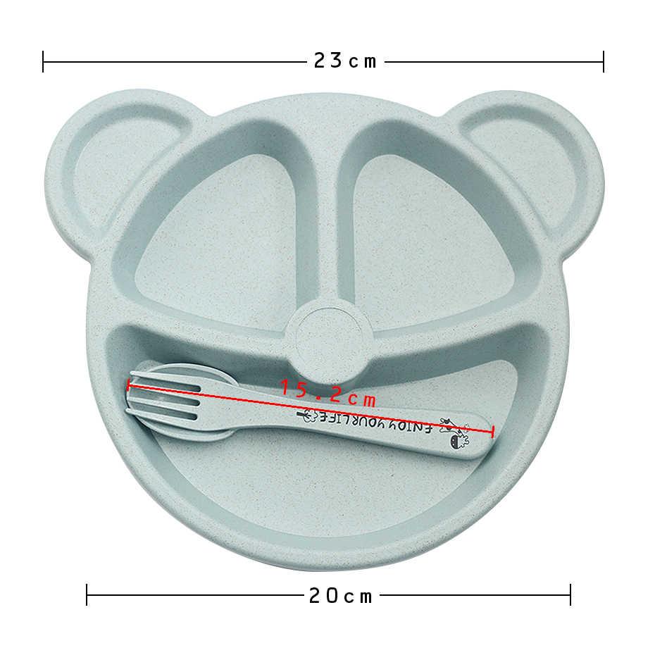 Juego de vajilla de bambú para bebé de 3 piezas, juego de vajilla para comida, vajilla para niños, platos para recién nacidos, Rosa