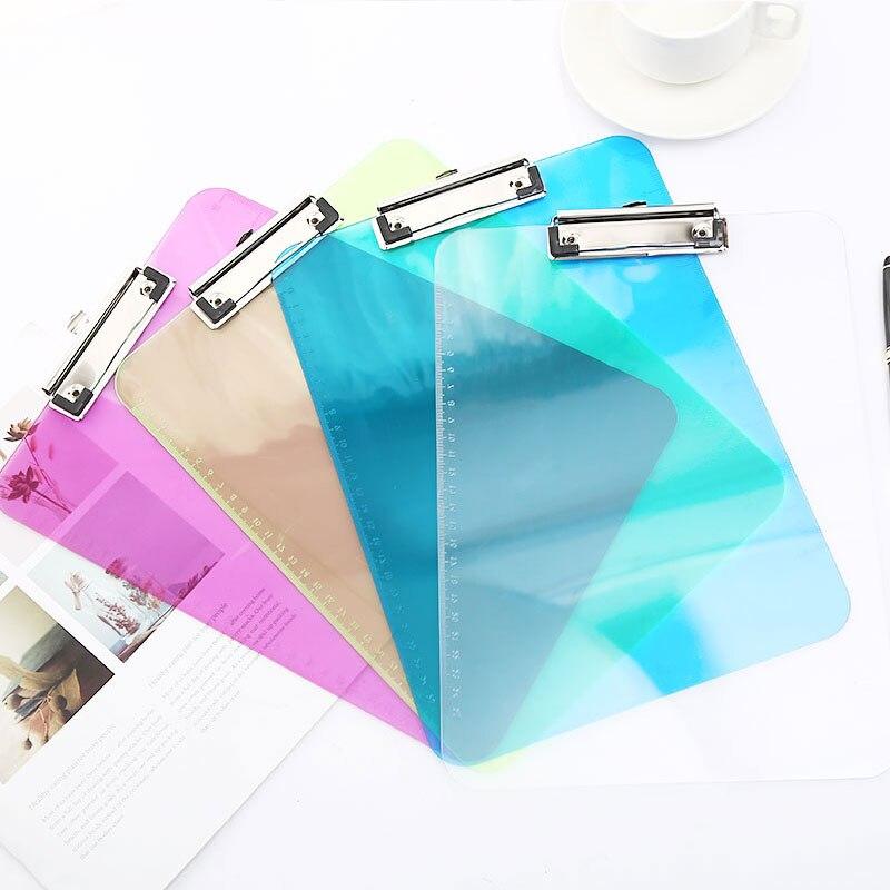Pl/ástico Clipboard con Pinza Transparente Carpeta Memo para Trabajo Oficina Profesores Escuela Estudiantes YUEKUN Portapapeles A4