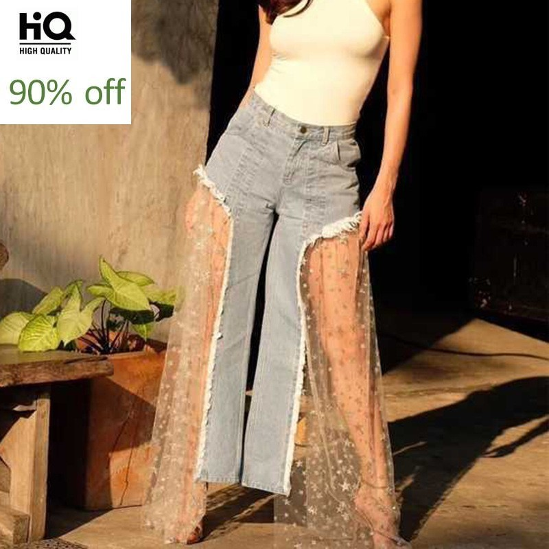 Patchwork High Waist Sequin Tassel Sexy Denim Wide Leg Pants Mesh Patchwork Jeans Female 2020 Fashion Harajuku Summer Clothing