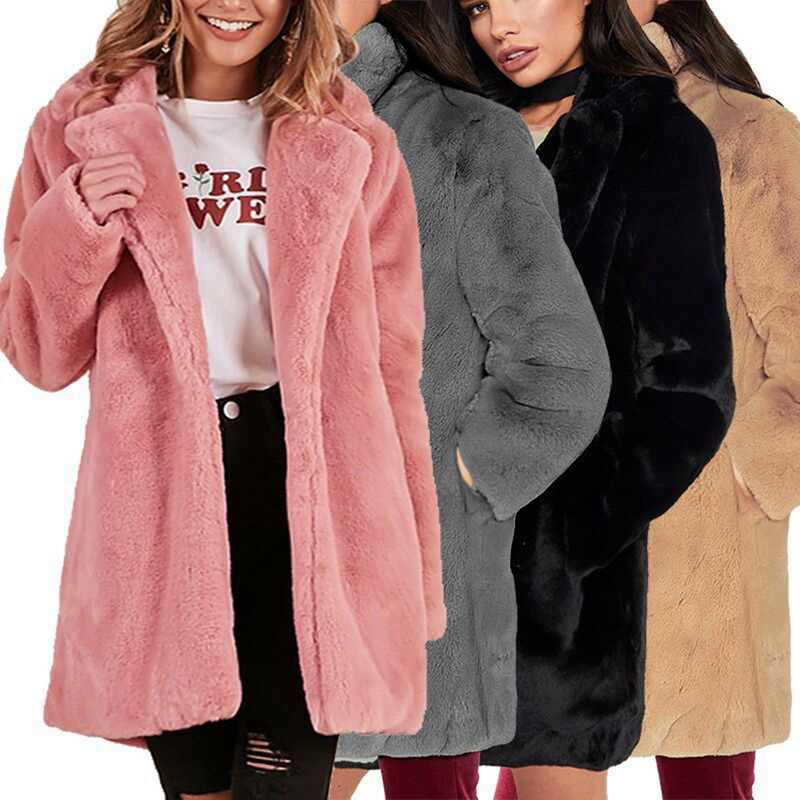 Verdicken Plüsch Fell Mantel Frauen Winter Warme Weiche Fleece Pelzmantel Dame Mid-länge Lose Revers Plüsch Casual Weibliche mantel Jacke