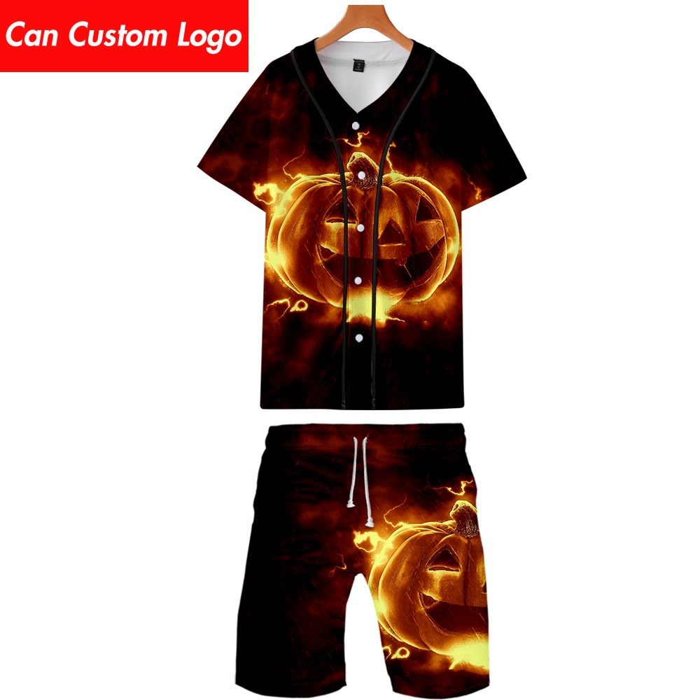 2019 Halloween Two Piece Set Jacket And Shorts Kpop Fashion New Cool Print Halloween Party Baseball Jacket Set For Men Plus Size