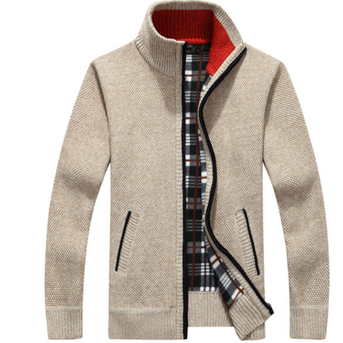 Nice Men Sweaters Autumn Winter Warm Cashmere Wool Zipper Pullover Sweaters Man Casual Knitwear Plus Size M-5XL