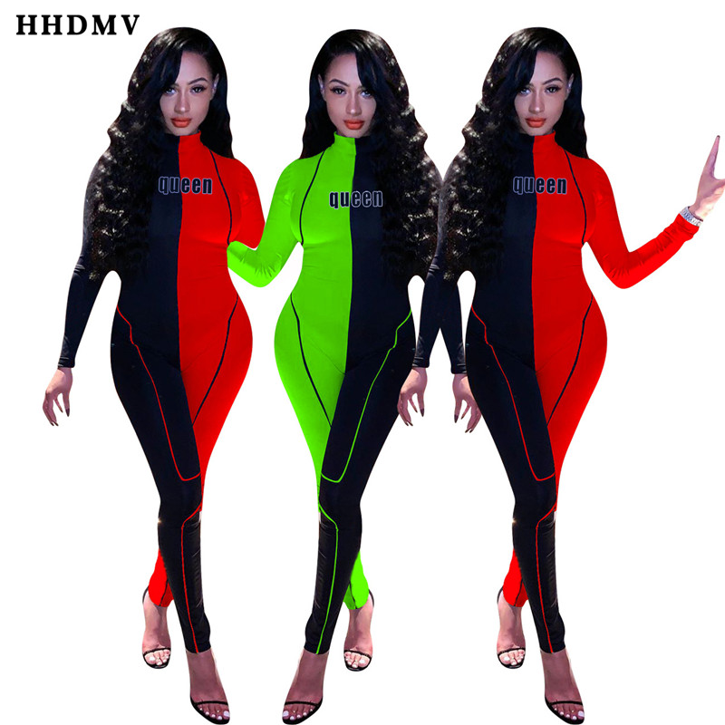 HHDMV YD8128 sexy tight locomotive style jumpsuits long sleeve high collar zipper letters stitching color jumpsuits long pants