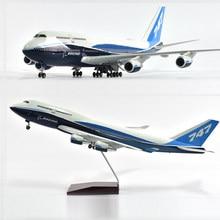 Jason tutu 46cm original boeing 747 modelo de avião modelo de avião modelo de aeronave 1/160 escala diecast resina aviões com luz