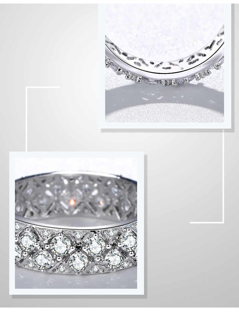 Solid 925 Sliver สีขาว VVS1 แหวนเพชรสำหรับสุภาพสตรี Topaz อัญมณี Bizuteria ดีเครื่องประดับ Silver 925 แหวนเพชรเครื่องประดับ