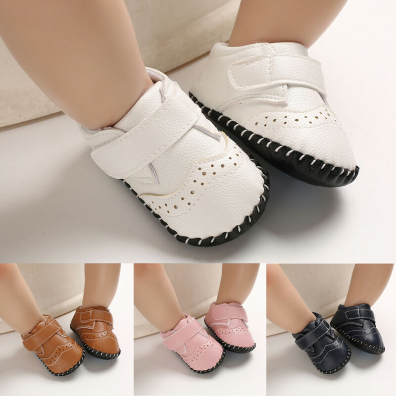 New Infant Baby Boy Girl Soft Sole Crib Newborn Anti Slip First Walker Leather Toddler Shoes