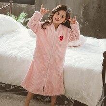 Зимние банные халаты для девочек; фланелевые банные халаты принцессы; детская плотная теплая одежда для сна; Одежда для маленьких девочек; одежда для сна для От 4 до 14 лет