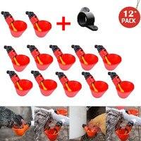 12 pçs automático frango pássaro bebedor feed pássaro coop aves de capoeira água potável copos sistema água potável # lr2