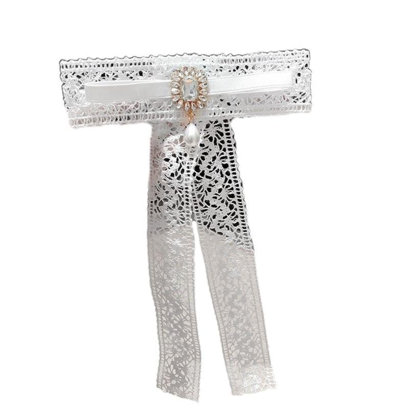 Cute Lace Ribbon Bow Women Tie Brooch Pin Rhinestone Faux Pearl Pre-Tied Necktie Clip
