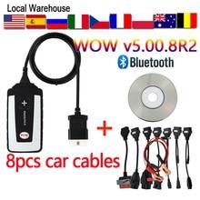 Vaya Bluetooth camiones de coches W-O-W 5.00.8 R2 TCS Snooper Wurth pro VD DS150E 2017 R1 delphis obd2 herramientas de escáner multilenguaje