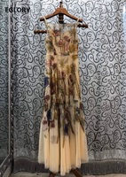 Top Quality New Strap Long Dress 2020 Summer Women Vintage Flower Print Sexy Backless Sleeveless Casual Long Beach Maxi Dress