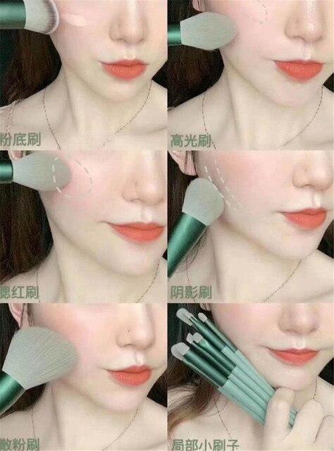8/13PCS Makeup Brushes Pro Green Brush Set Powder Eyeshadow Blending Eyeliner Eyelash Eyebrow Make Up Beauty Cosmestic Brushes 6
