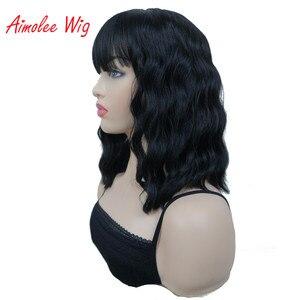 Image 3 - Aimolee frauen Medium länge Lockige Schwarze Perücke Natura Ordentlich Bang Stil Synthetische Perücken Haar