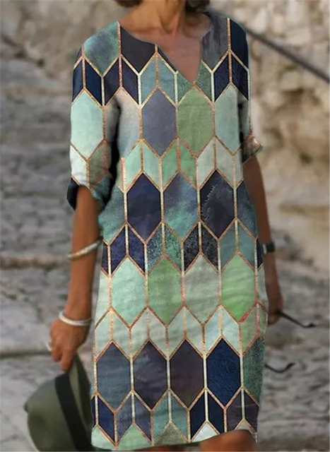 Fashion casual dress large size loose dress temperamental mid-sleeve dress 6