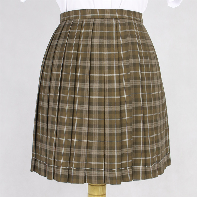 Greyish-green Short Skirts School Girl Small Grid Pleated Half Skirt School Uniform