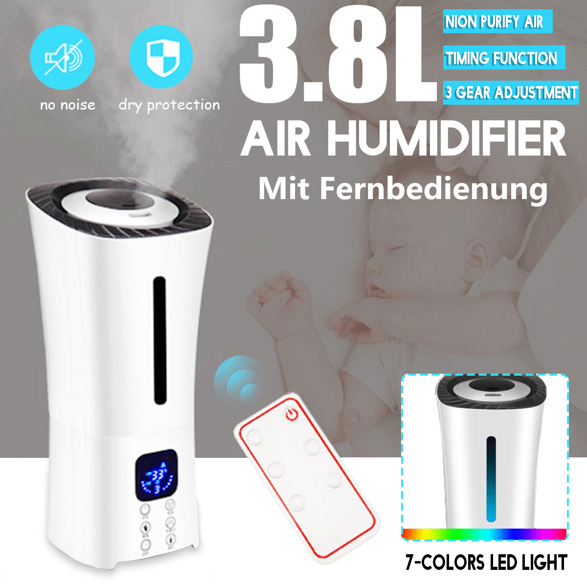 Air Humidifier Essential Oil Aroma Diffuser 3.8L Mist Purifier Ultrasonic LED Night Light Air Humidifier+Smart Remote Control