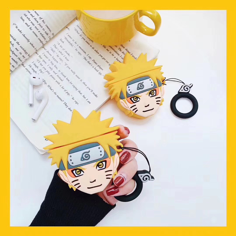 3D Japan Cartoon Naruto Uzumaki Naruto Earphone Headset Accessories Silicone Case For Airpods 1 2 Wireless Bluetooth Cover