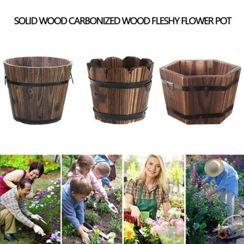 Whiskey Barrel Planter Pots Wooden Large Garden Patio Outdoor Flower Plant