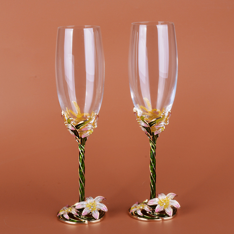 ENAMEL GLASS GOBLET ENVIRONMENTAL PROTECTION A PAIR CHAMPAGNE GLASS WEDDING PARTY CREATIVITY CUP  HIGH-END GIFT BOX