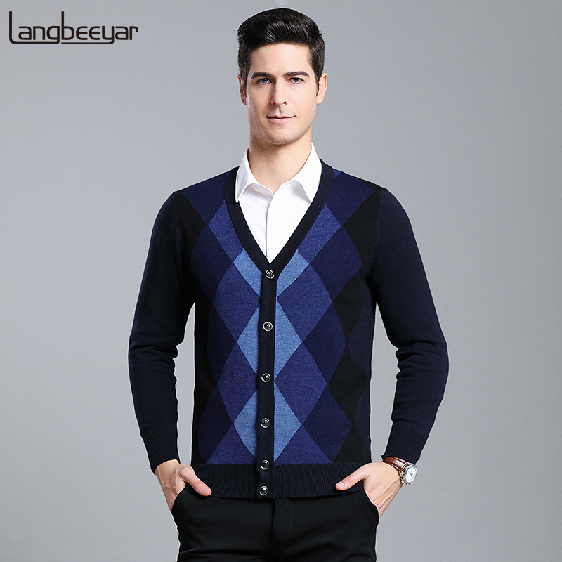 6% Wool 2019 New Fashion Brand Sweaters  Mens Cardigan Slim Fit Jumpers Knit V Neck Autumn Patterns Casual Men Clothes