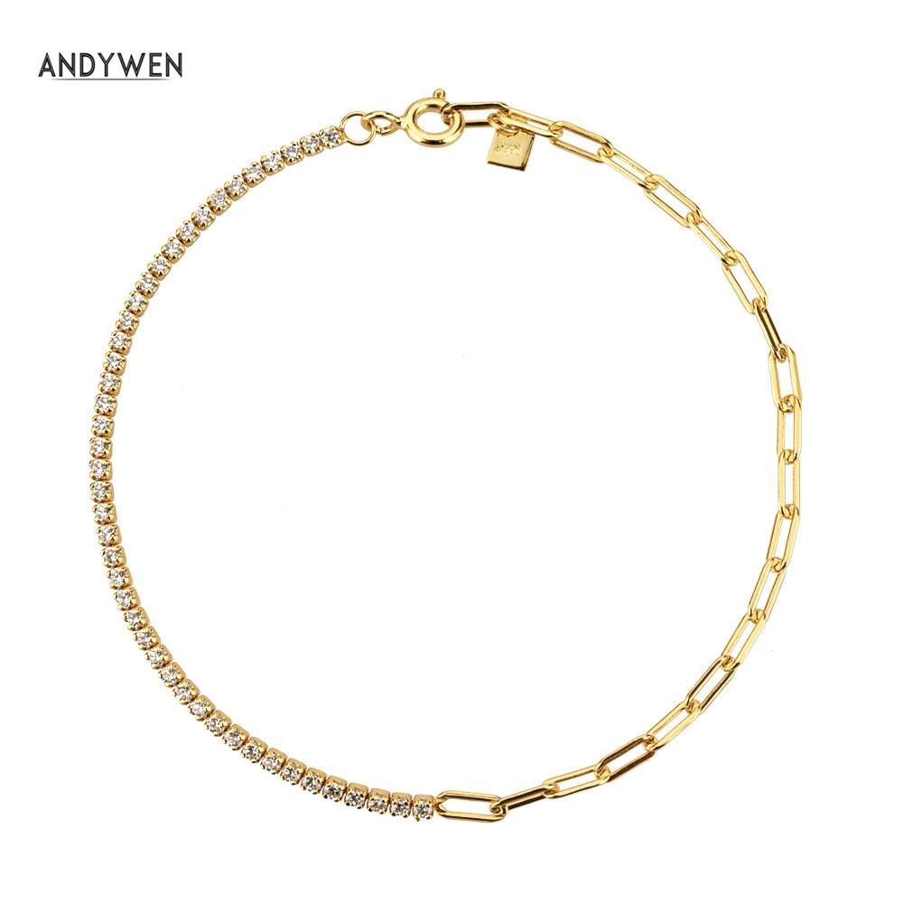 ANDYWEN 925 Sterling Silver Splice Geometric Chains Bracelet Zircon Gold Rock Punk Horoscope European Fashion Party Fine Jewelry