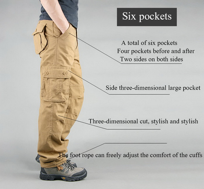 FALIZA Men's Cargo Pants Multi Pockets Military Style Tactical Pants Cotton Men's Outwear Straight Casual Trousers for Men CK102 25