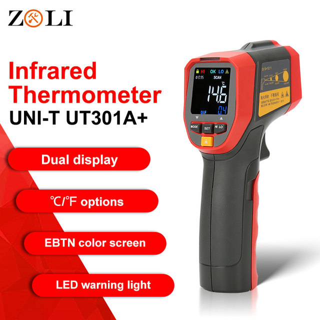 UNI T UT301A+ Non Contact Laser LCD Display IR Infrared Digital C/F Selection Surface Temperature Thermometer Pyrometer Imager