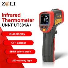 UNI T UT301A + عدم الاتصال ليزر شاشة الكريستال السائل الأشعة تحت الحمراء الرقمية C/F اختيار سطح درجة الحرارة الحرارة مقياس الحرارة تصوير