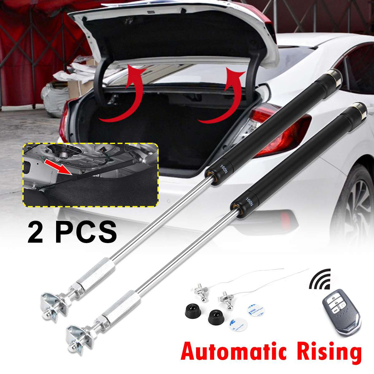 1Pair 160N Automatic Rising Rear Trunk Door Lifting Support Spring Gas Shock Hydraulic Strut Bars For Honda For Civic 2016-2019