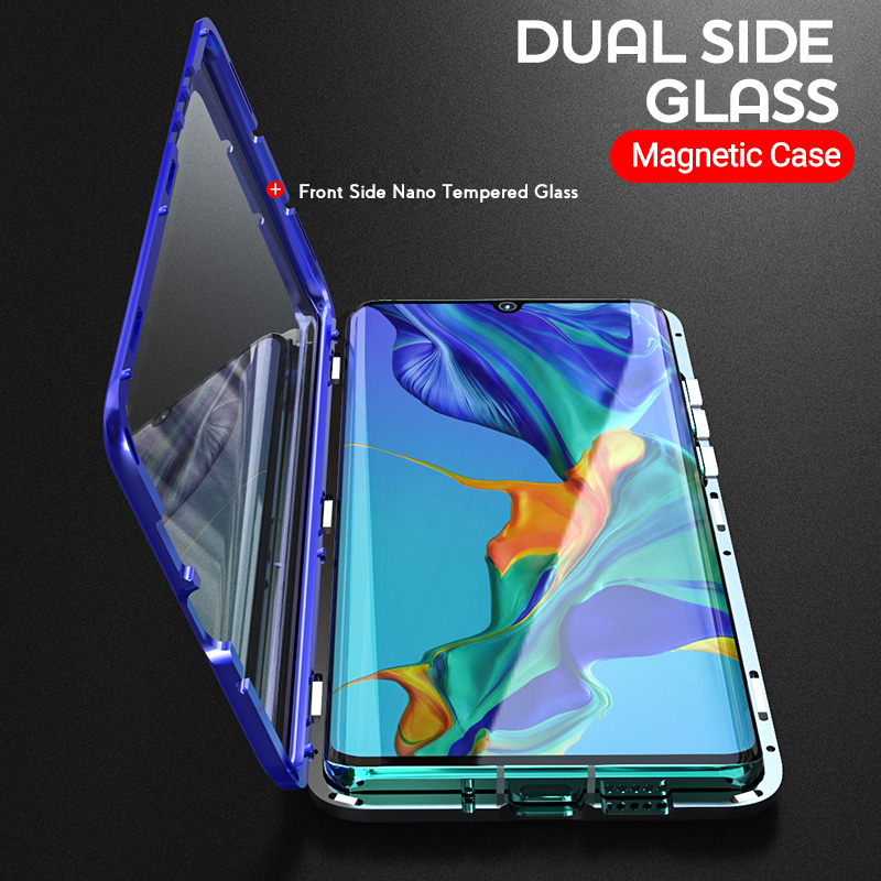 Magnetic Absorption Metal <font><b>Flip</b></font> <font><b>Case</b></font> for <font><b>Samsung</b></font> Galaxy A40 Double Sided Tempered Glass Phone Back Cover SamsungA40 GalaxyA40 Bag image