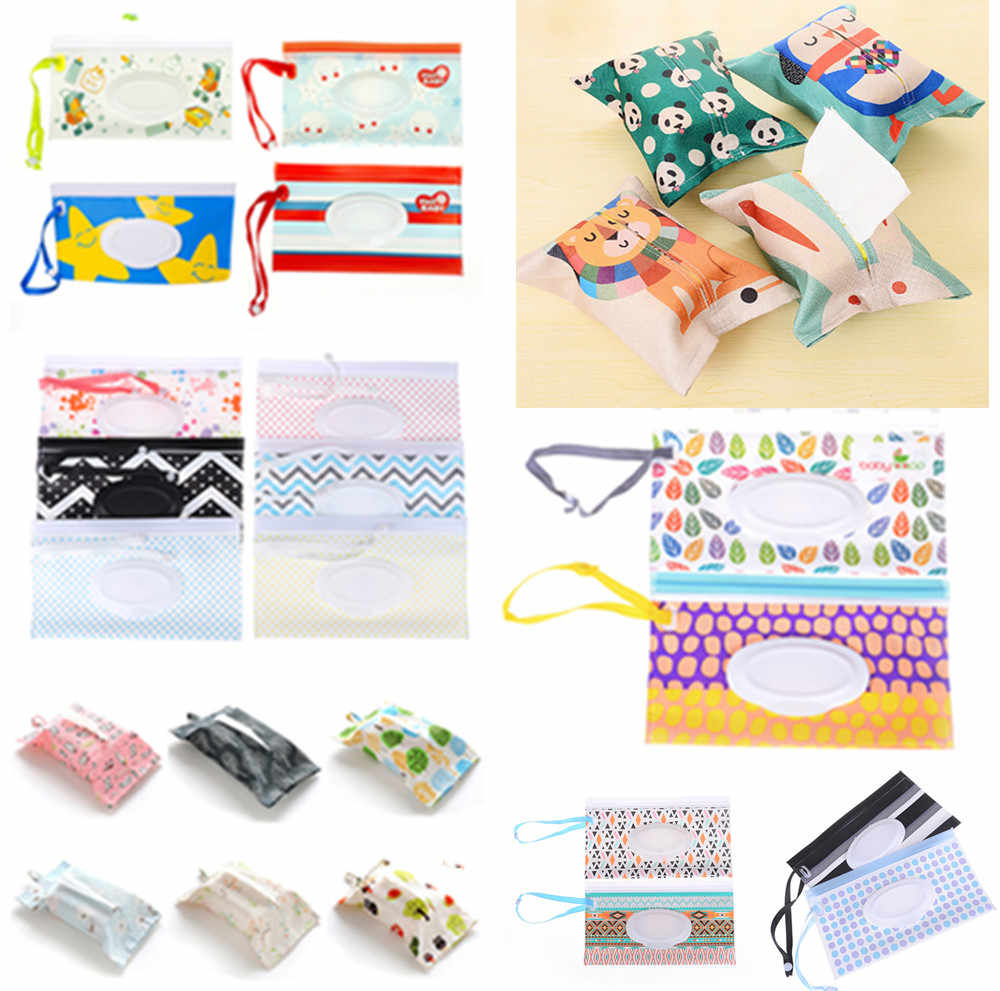 Carrying Case Eco-friendly Wet Wipes Bag Clutch and Clean Wipes Clamshell Cosmetic Pouch Easy-carry Snap-strap Wipes Container