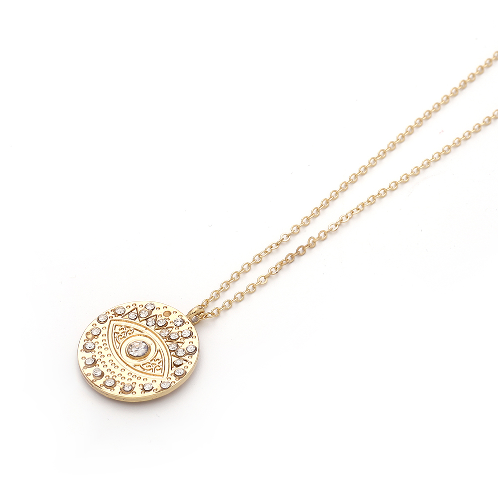 2020 New Fashion Ladies Chic Gold Chain Colorful Rhinestone Filled Evil Eye Coin Necklaces For Women Bohemian Gold Necklaces