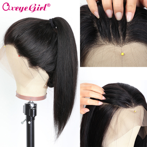Image 3 - Oxeye kız 13x6 dantel ön İnsan saç peruk ön koparıp sahte saç derisi peruk 10 26 brezilyalı saç düz dantel ön peruk Remy saç