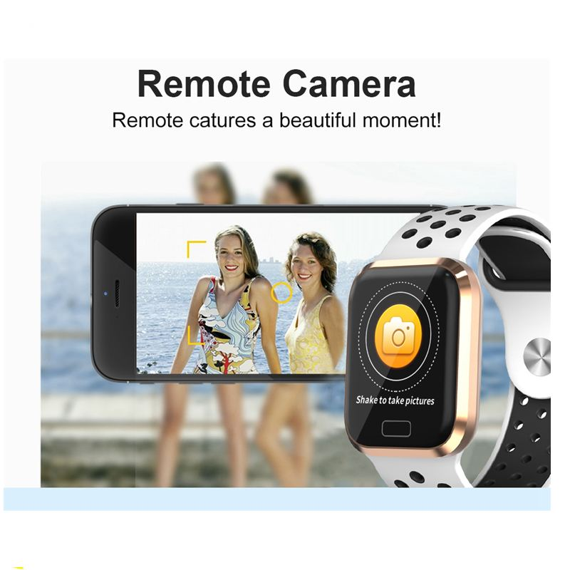 Big Screen Fashion Realtime HR and Blood Pressure Oxygen Monitor Music bluetooth Camera Remote Control Smart Watch in Smart Watches from Consumer Electronics