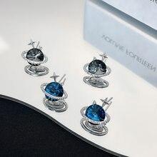 Luokey meninas brincos de cristal zircão parafuso prisioneiro estrelado planeta universo estrela lua brincos para mulheres coreano moda jóias brinco 2021