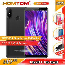 Original HOMTOM C1 1GB RAM 16GB ROM Quad Core Mobile Phone 5.5 inch 18:9 Full Display 13MP Rear Camera Smartphone Fingerprint(China)
