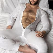 Мода мужчины пижамы комбинезон домашняя одежда однотонный цвет длинный рукав удобный кнопка досуг одежда для сна мужчины комбинезоны одежда для сна S-5XL