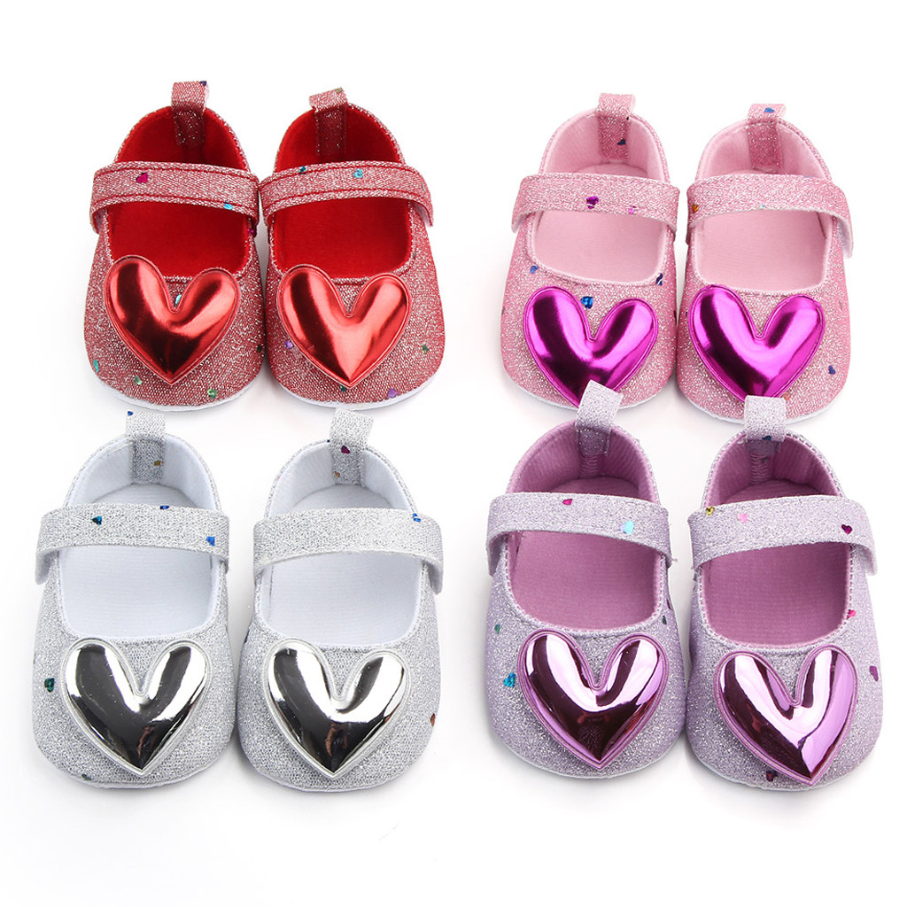 Baby Girl Shoes Infant Indoor Soft-Soled Heart-Shaped Princess Shoes Hook & Loop Baby Walking Shoes Girls L1024