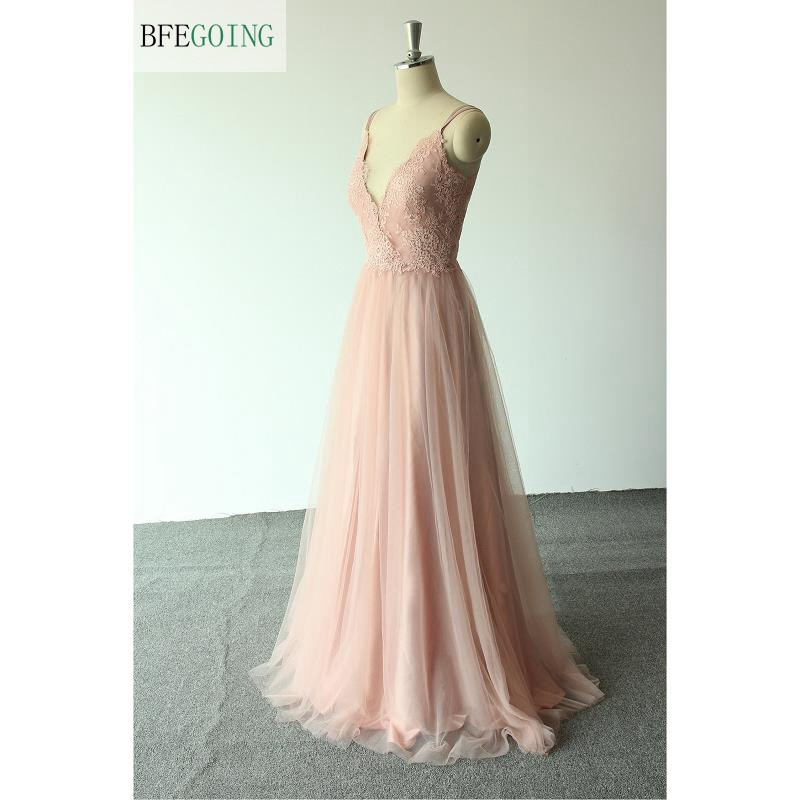 Pink Tulle Lace V-neck Spaghetti Straps Sleeveless  Floor-Length A-line  Wedding Dress Custom Made