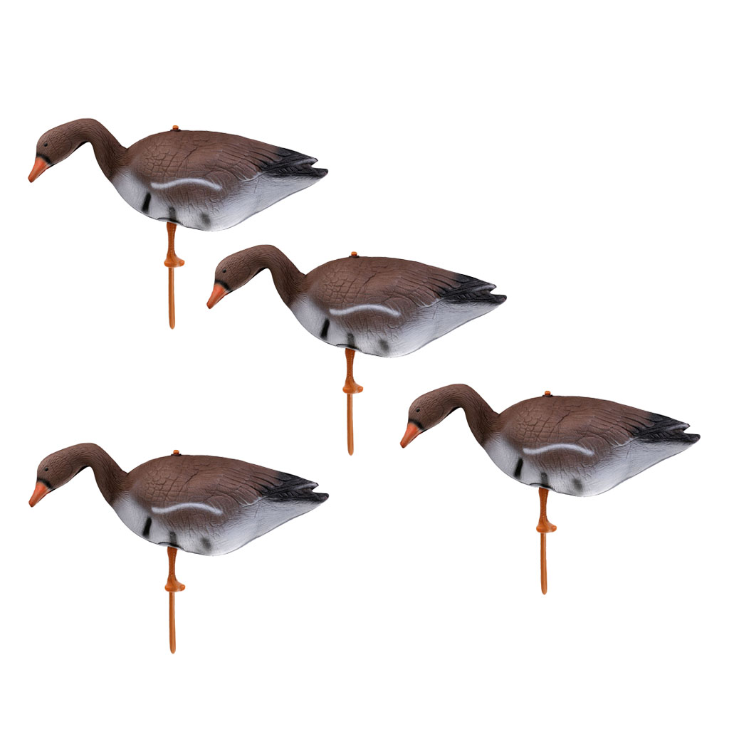 4Pcs Outdoor Life Size Brown Swan Decoy Goose Hunting Decoy 3D Target Pond Decoration Scarecrow Floating Hunting Decoys
