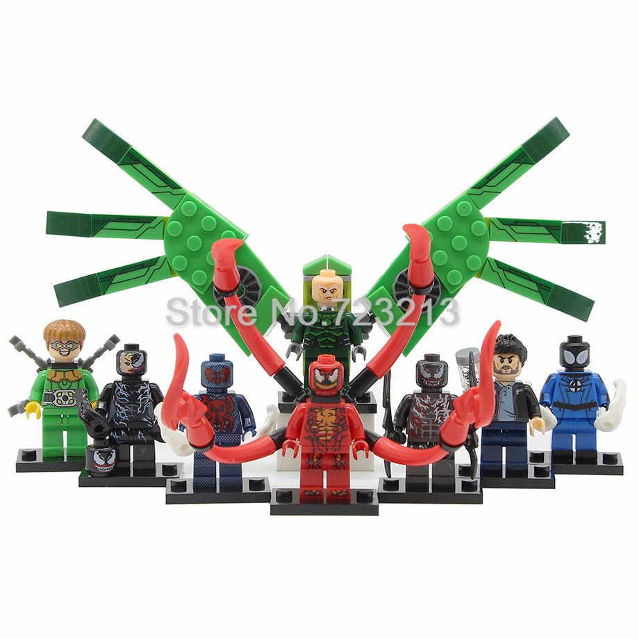 Single X0231 Female Venom Figure Eddie Brock Riot Carnage Spider-Man 2099 Super Hero Vulture Dr Octopus Building Blocks Set Toys