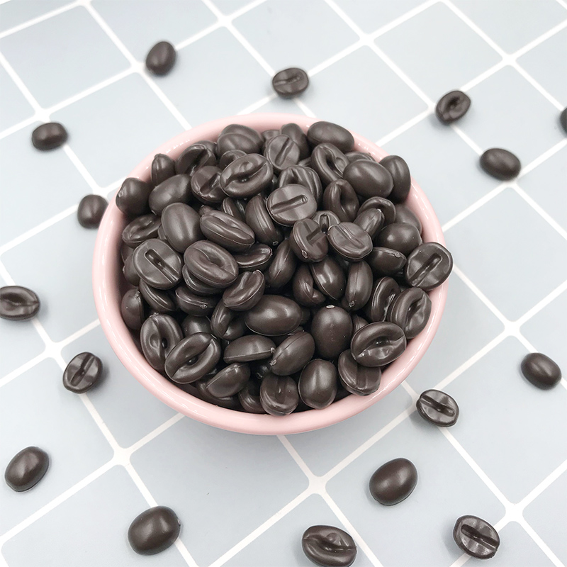 200Pcs Simulation Miniature Coffee Beans Flatback Resin Cabochon Fake Food Scrapbooking Craft DIY Phone Decoration Accessories
