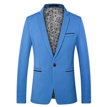 Suit coat mens fashion simple solid color single buckle casual suit  high quality fabric business jacket