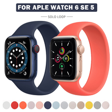 Sport Loop Band For Apple Watch Series 6 SE 44mm 40mm Silicone Strap For Apple Watch 6 5 4 3 44mm 40mm 42mm 38mm Solo Loop Strap cheap ONEVAN CN(Origin) 22cm Watchbands Rubber New without tags with no clasps buckles for apple watch seires SE 6 5 4 3 2 1 Black red blue yellow