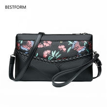 2019 new Women Clutch Envelope Bags Female Messenger Bag Flower Retro Designer Soft Leather Shoulder Bags Ladies Handbag(China)