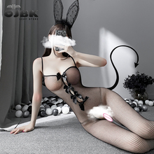 OJBK Erotic Lingerie Open Chest Stretch Mesh Body Stocking Sexy Fishnet Bow Bodysuit Hollow Out Butt Doggy Costumes For Women