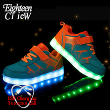 Luminous Sneakers USB Charging Led Children Shoes 2019 Spring Kids with Light Up