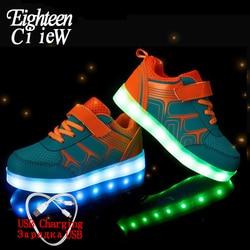 Świecące trampki led ładowane na usb dzieci buty 2019 wiosna dzieci z zapalić świecące świecące buty dla chłopców i dziewcząt trampki w Trampki od Matka i dzieci na