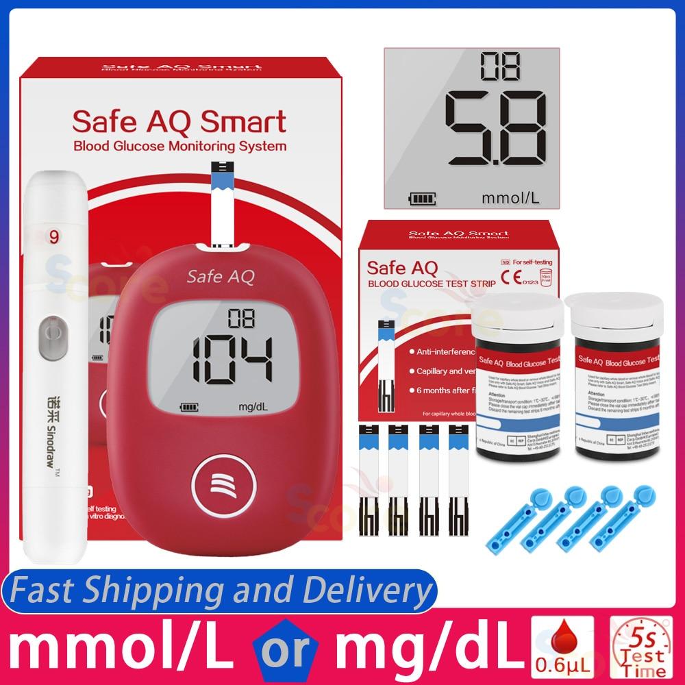 Güvenli AQ akıllı kan şekeri ölçücü Test şeritleri ile Lancets 5s Test için doğru diyabet şeker ölçüm monitör kan şekeri ölçüm cihazı